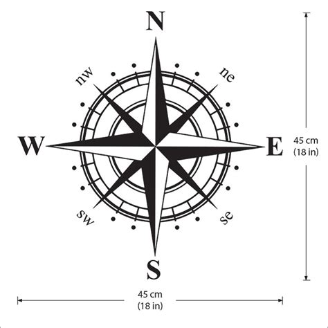 Wall Sticker Map Of The World compass marine navigation north
