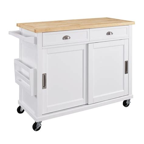 kitchen cart ideas linon home decor sherman white kitchen cart with storage k464906whtabu the home depot