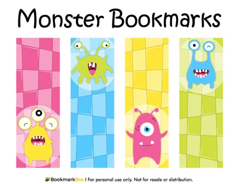 Printable Monster Bookmarks | printable monster bookmarks