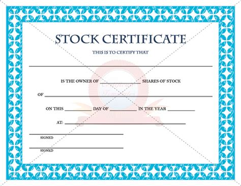 blank stock certificate template free best photos of corporation stock template printable