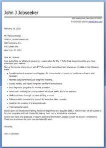 Cover Letter For It Support by It Help Desk Cover Letter Sle Resume Downloads