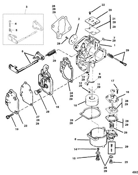 Mercury Marine 15 HP Carburetor Assembly Parts