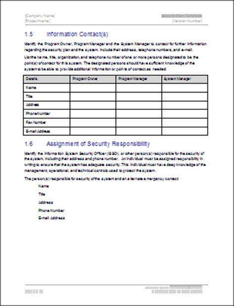 system security plan template security plan template