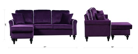 Small Sofa With Chaise Lounge Traditional Small Space Velvet Sectional Sofa With Reversible Chaise Purple Ebay
