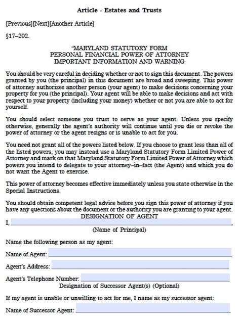 maryland will template free maryland durable financial power of attorney form