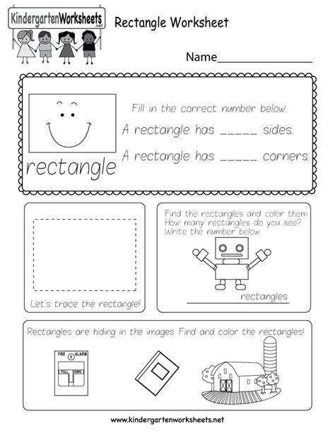 Rectangle Printable Worksheets rectangle worksheet free kindergarten geometry worksheet