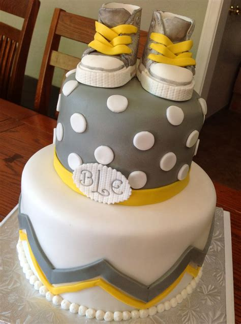 Yellow And Grey Baby Shower Cake by Plumeria Cake Studio Gray And Yellow Baby Shower With
