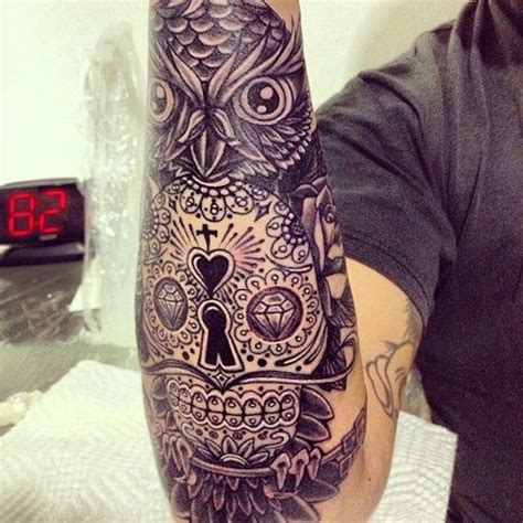 owl and sugar skull tattoo 138 cool sugar skull tattoos