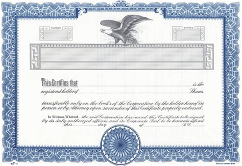 corporate stock certificate template free word and vector certificate template certificate templates