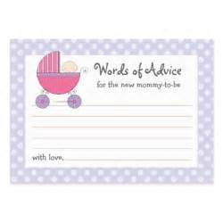 Baby Shower Cards Templates Mommy Advice Card Baby Shower Carriage Pink Large
