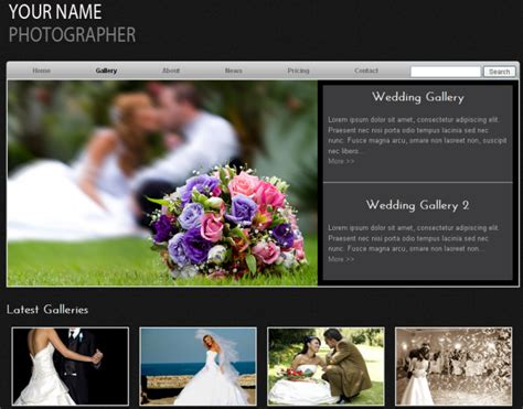 Wedding Photographer Free Template Dmxzone Com Templates For Photographers