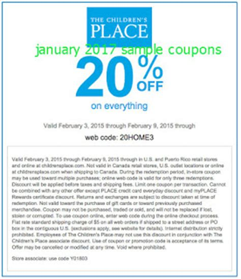 childrens place coupons canada printable printable coupons 2017 childrens place coupons