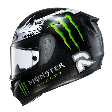 Motorradhelm Monster by Hjc Rpha10 Lorenzo Replica Ghost Fuera Black Motorcycle