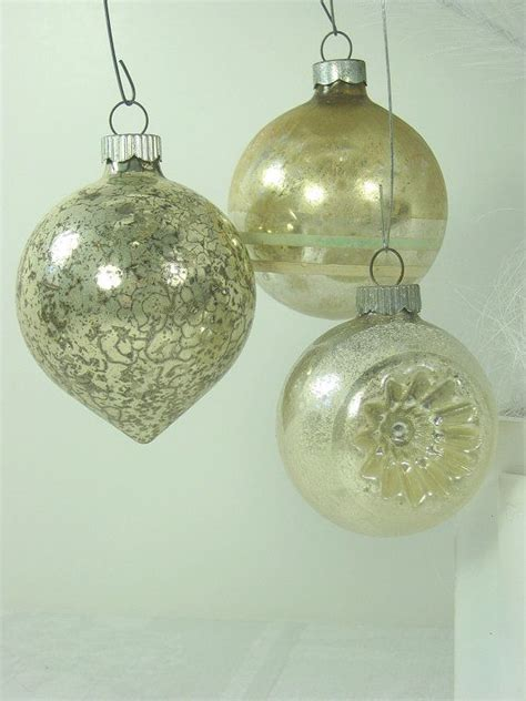 vintage mercury glass ornaments silver christmas tree set
