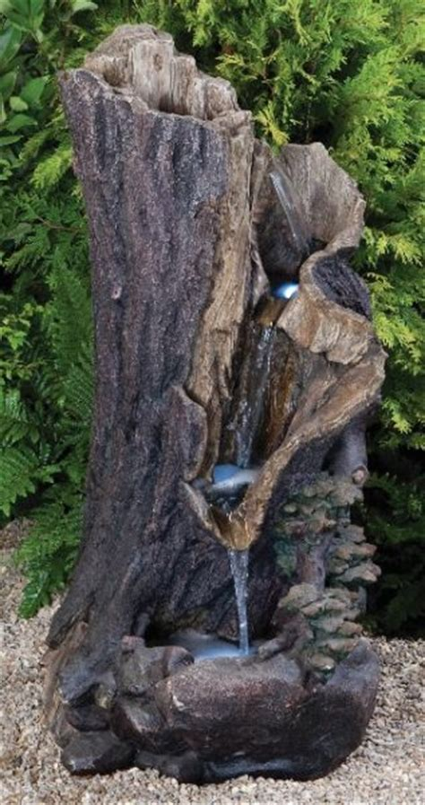 hollow log stream water feature  led lights