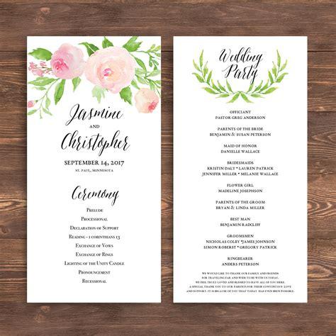 free sle wedding programs templates printable wedding program template floral ceremony