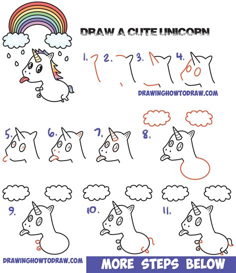 how to draw a kawaii unicorn with tongue out