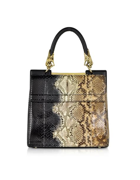 Roberto Cavallis Has Packed Bags by Roberto Cavalli Small Black And Sand Python Leather Top