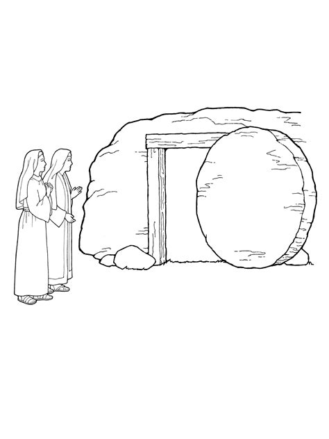 coloring page of jesus empty tomb mary by empty tomb