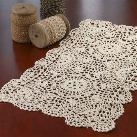 crochet doily ecru oblong crocheted doily crochet and lace doilies