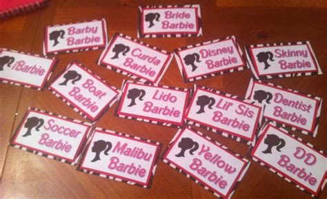 Theme Names For Bachelorette Party | barbie name tags for a barbie themed bachelorette party