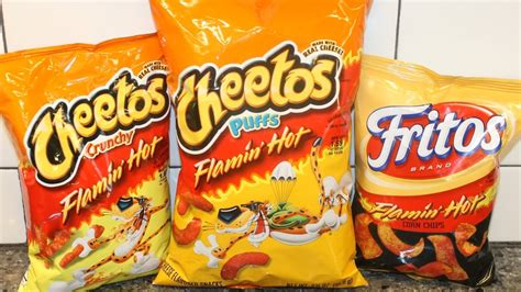are hot funyuns halal flamin hot cheetos crunchy puffs and fritos corn chips