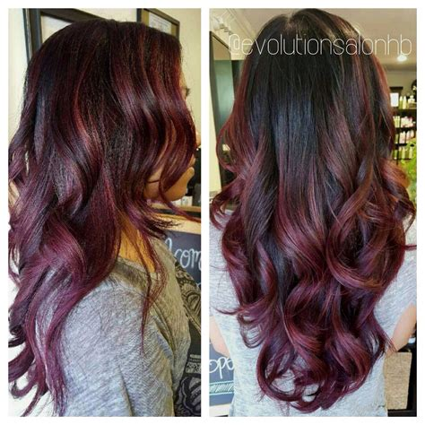 hairstyles and color with highlights gorgeous black to maroon ombr 233 hairrrr pinterest