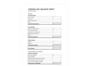opening balance sheet template opening day balance sheet opening day balance sheet template