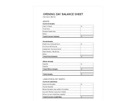 opening day balance sheet template opening day balance sheet opening day balance sheet template