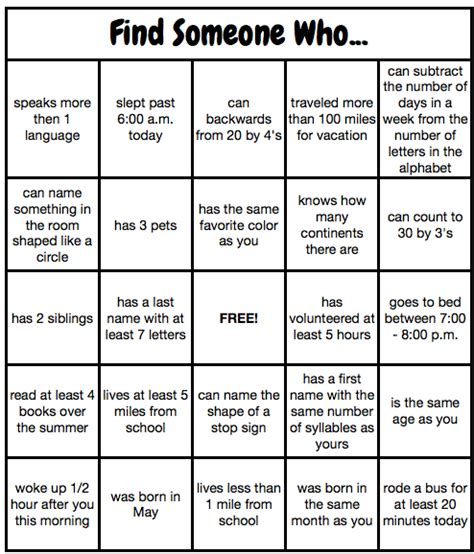 find someone who template human bingo template