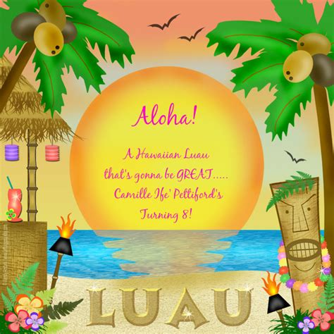 camille s birthday luau online invitations cards by