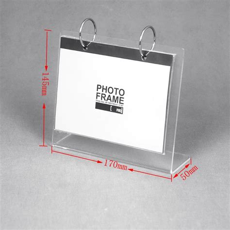 Clear Hk Stand Bahan Fuze Packing l shape desktop clear acrylic calendar holder stand for desk calendar easel manufacturers china
