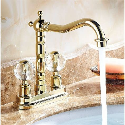 gold kitchen sink faucet dual handle neck deck mount bathroom