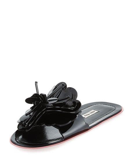 Flat Shoes Flower Mr02 miu miu runway flower flat slide sandal black neiman