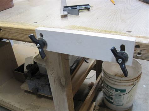 bench end vise bench upgrade shop made end vise and adjustable stop