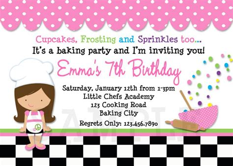 Printable Birthday Invitations Cooking Birthday Party Cooking Invitations Pered Chef Invitation Template