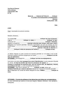Exemple De Lettre Autorisation Parentale Pour Voyager Modele Autorisation Parentale Pour Voyage Document