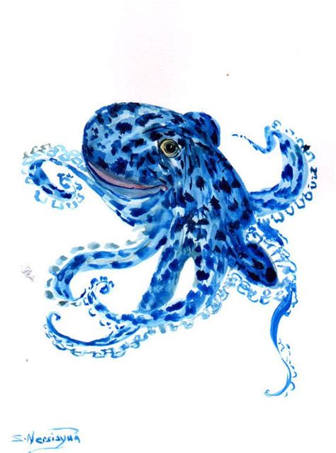 watercolor octopus tattoo blue octopus original watercolor painting 12 x 9 in sea