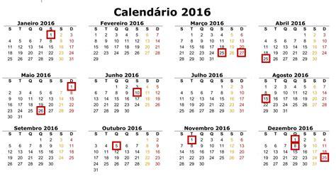 feriados de 2016 calend 225 completo alerta emprego