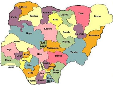 map of nigeria with states 36 states of nigeria nigeria information guide