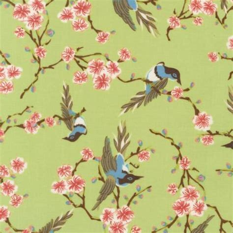Bird Quilting Fabric by T217 Blue Bird Cherry Blossom Happiness
