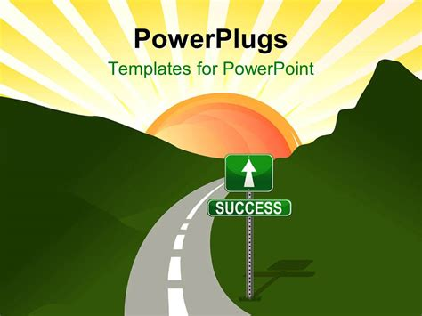 templates powerpoint powerplugs powerpoint template narrow two lane road through hills
