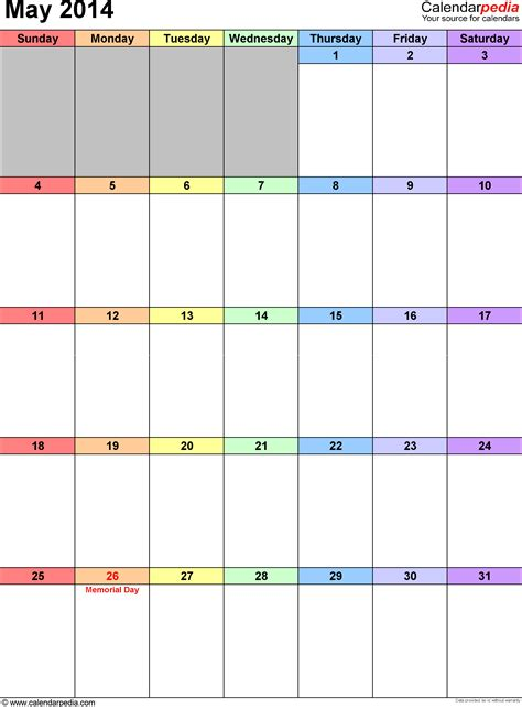 may 2014 calendars for word excel pdf