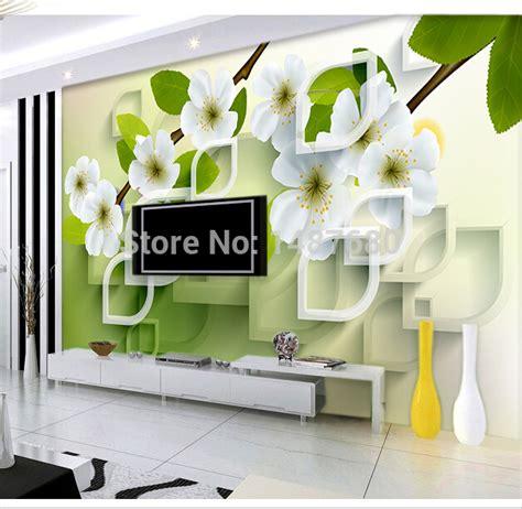 Living Room Wallpaper Buy Aliexpress Buy Any Size 3d Flowers Custom 3d Mural