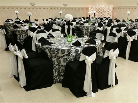 white table covers weddings black table covers with black on white damask overlays