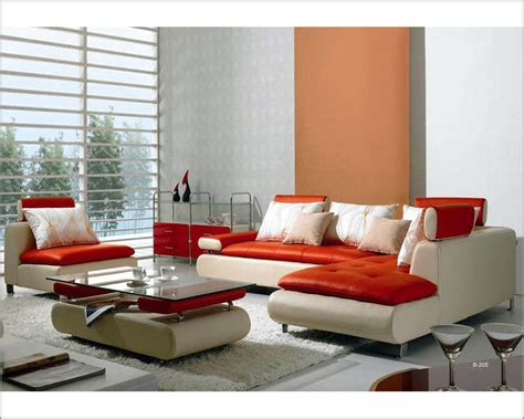 Ultra Modern Red And White Leather Sectional Sofa Set 44lb205