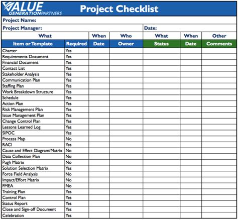 generating value by using a project checklist value