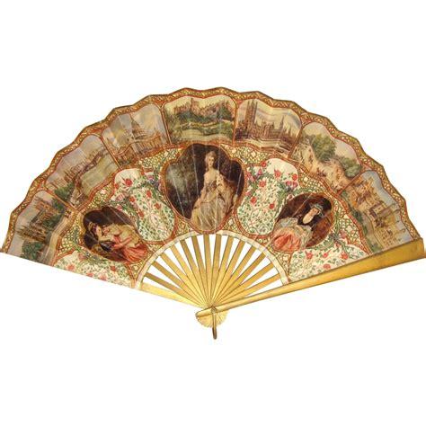 Paper Fan Myungsoo 1 lithographed paper fan souvenir of cur io vintage ruby