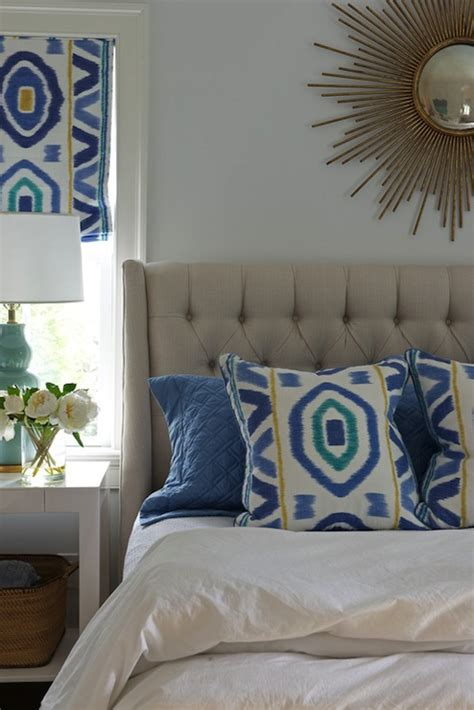 Light Blue And Yellow Bedroom Light Gray Tufted Headboard Contemporary Bedroom Nightingale Design