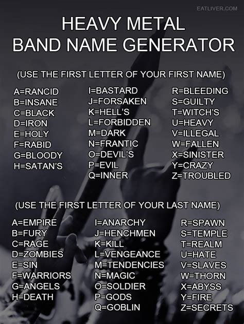 music artists names from a to z heavy metal band name generator the poke